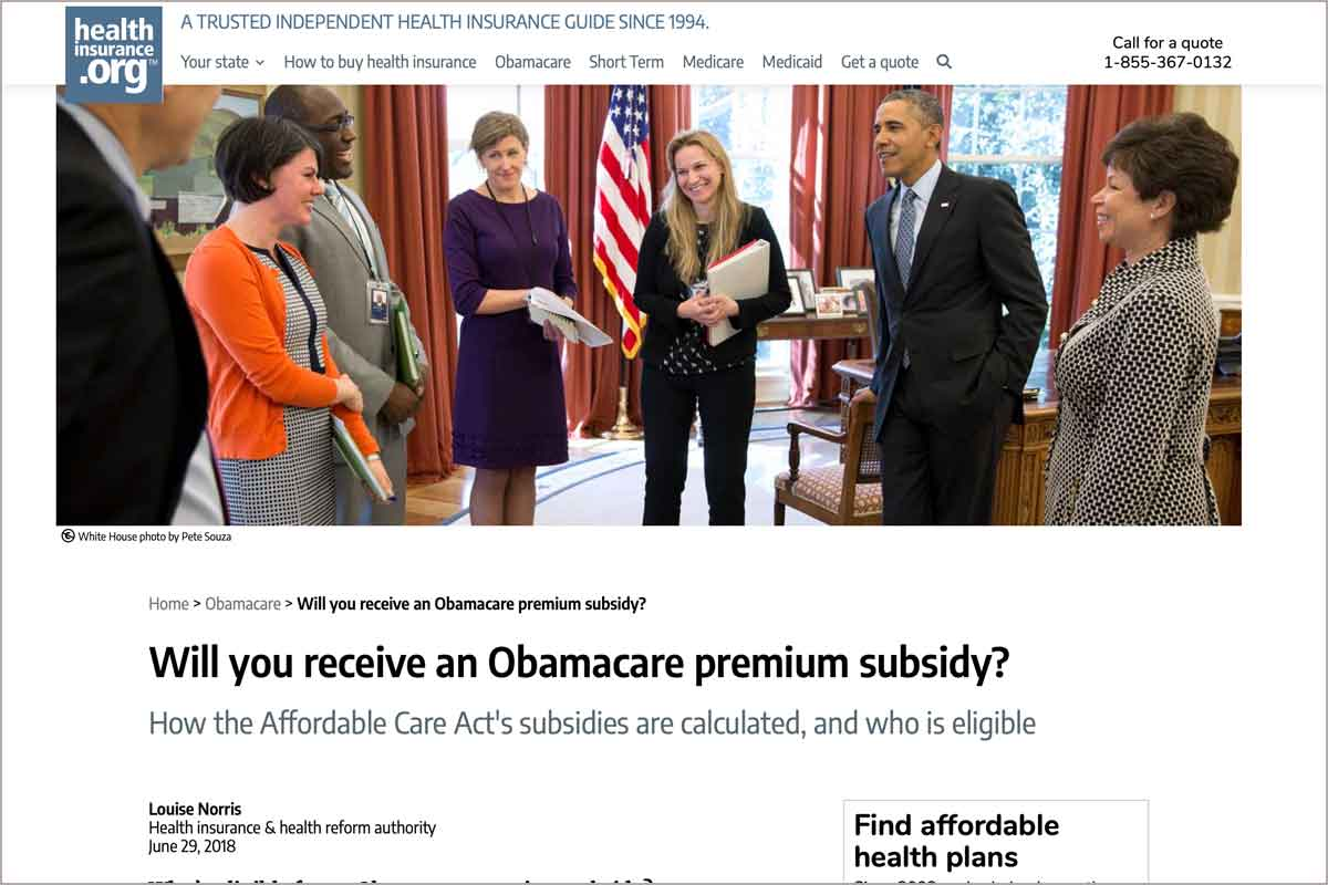 Article about Obamacare subsidies