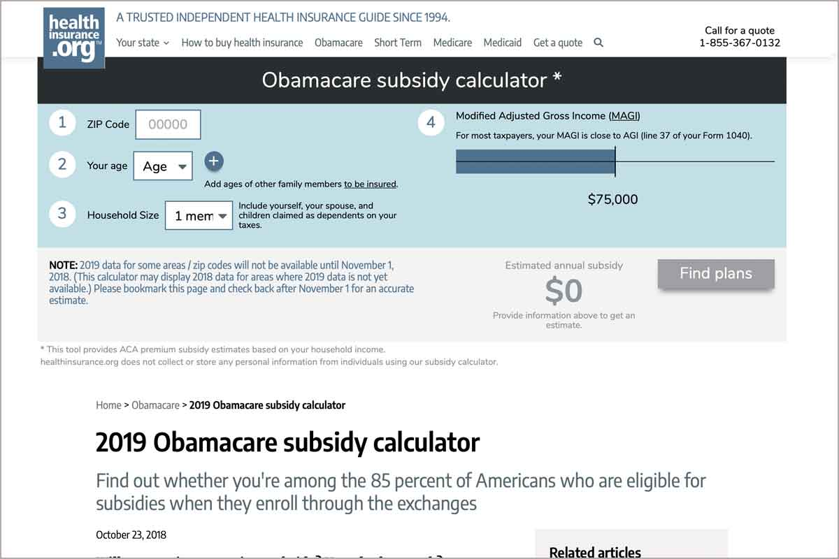 Obamacare subsidy calculator